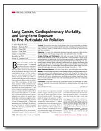 Lung Cancer, Cardiopulmonary Mortality, ... by Pope, C. Arden, Iii, Ph. D.