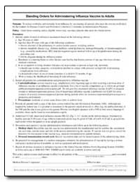 Standing Orders for Administering Influe... by Department of Health and Human Services