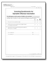 Screening Questionnaire for Injectable I... by Department of Health and Human Services