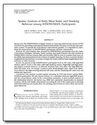 Spatial Analysis of Body Mass Index and ... by Mobley, Lee R., Ph. D.
