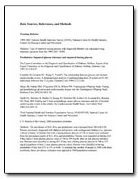 Data Sources, References, And Methods by Department of Health and Human Services