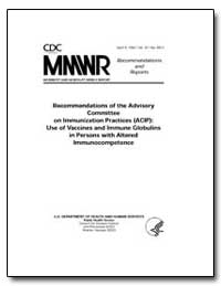 Recommendations of the Advisory Committe... by Department of Health and Human Services