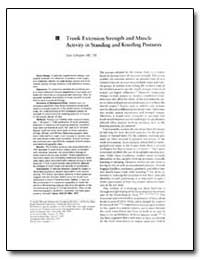 Trunk Extension Strength and Muscle Acti... by Gallagher, Sean, M. S.