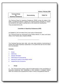 Technical Rules for Hazardous Substances by Department of Health and Human Services