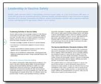 Leadership in Vaccine Safety by Department of Health and Human Services