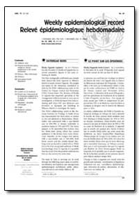 Weekly Epidemiological Record Releve Epi... by Department of Health and Human Services
