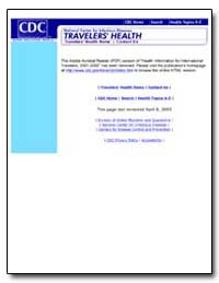 Travelers Health by Department of Health and Human Services