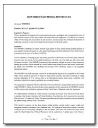 Deep Seabed Hard Mineral Resources Act by
