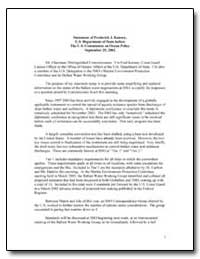 Statement of Frederick J. Kenney, U.S. D... by Kenney, Frederick J.