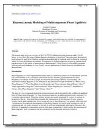 Thermodynamic Modeling of Multi Componen... by Kattner, Ursula R.