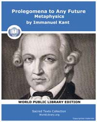 Prolegomena to Any Future Metaphysics by Kant, Immanuel