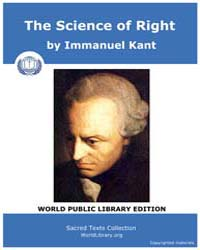 The Science of Right by Kant, Immanuel