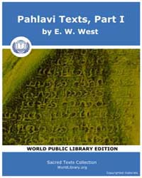 Pahlavi Texts, Part I Volume Vol. 5 by West, E. W.