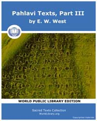 Pahlavi Texts, Part III Volume Vol. 24 by West, E. W.