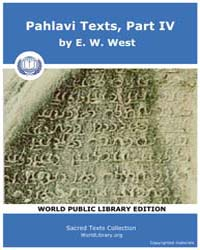 Pahlavi Texts, Part IV Volume Vol. 37 by West, E. W.