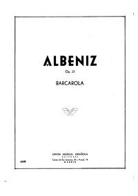 Barcarola, Op.23 : Complete score Volume Op.23 by Albéniz, Isaac