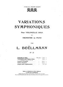 Variations Symphoniques, Op.23 (Variatio... Volume Op.23 by Boëllmann, Léon