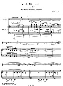 Villanelle : Score (horn and piano) by Dukas, Paul