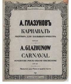 Carnaval (Ouverture pour grand orchestre... by Glazunov, Aleksandr