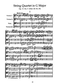 String Quartets, Op.17 : 5. Quartet in G... Volume Op.17 / Hob.III:25-30 by Haydn, Joseph