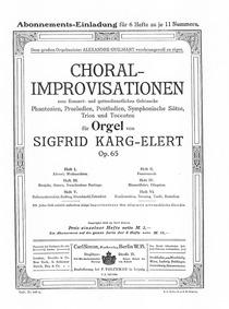 Choral-Improvisationen für Orgel, Op.65 ... Volume Op.65 by Karg-Elert, Sigfrid