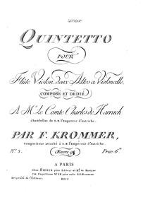 Flute Quintet, Op.94 : Viola 1 Volume Op.94 by Krommer, Franz