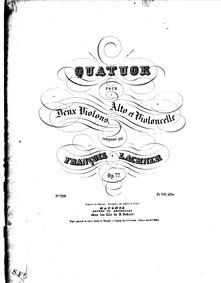 String Quartet, Op.77 : Complete Parts Volume Op.77 by Lachner, Franz Paul