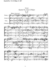 String Quartet No.14 (Spring Quartet) : ... Volume K.387 ; Op.X No.1 by Mozart, Wolfgang Amadeus