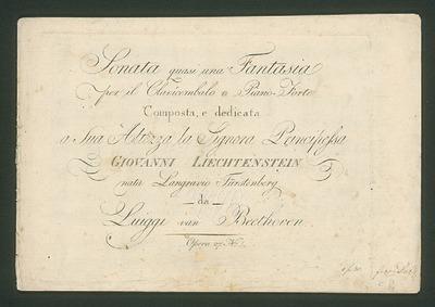 Piano Sonata No.13 (Sonata quasi una fan... Volume Op.27 No.1 by Beethoven, Ludwig van