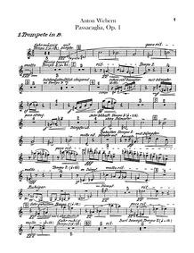 Passacaglia, Op.1 : Trumpet 1, 2, 3 (in ... Volume Op. 1 by Webern, Anton