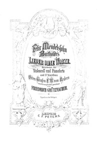 Lieder ohne Worte (Songs Without Words) ... Volume Op.19b by Mendelssohn, Felix
