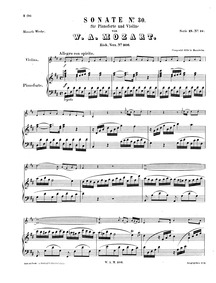 Violin Sonata in D major, K.306/300l : P... Volume K.306 ; K⁶.300l ; Op.1 No.5 by Mozart, Wolfgang Amadeus