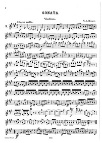 Violin Sonata in A major, K.305/293d : V... Volume K.305 ; K⁶.293d ; Op.1 No.5 by Mozart, Wolfgang Amadeus