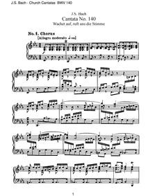 Wachet auf, ruft uns die Stimme, BWV 140... Volume BWV 140 by Bach, Johann Sebastian