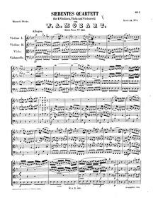 String Quartet No.7 in E-flat major, K.1... Volume K.160 ; K6.159a by Mozart, Wolfgang Amadeus