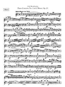 Piano Concerto No.1, Op.25 : Oboe 1, 2 Volume Op 25 by Mendelssohn, Felix