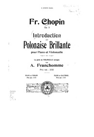 Introduction et polonaise brilliante (In... Volume Op.3 by Chopin, Frédéric