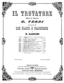 Il trovatore : Piano and flute parts by Verdi, Giuseppe