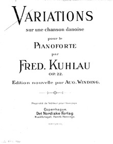 Variations on a Danish Song, Op.22 : Com... Volume Op.22 by Kuhlau, Friedrich