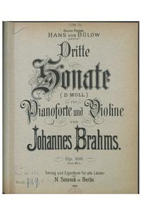 Violin Sonata No.3, Op.108 : Piano Score... Volume Op.108 by Brahms, Johannes