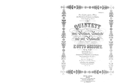 String Quintet (Quintett für 2 Violinen,... Volume Op.10 by Dessoff, Felix Otto