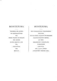 Montezuma, GraunWV B:I:29 : Act I Volume GraunWV B:I:29 by Graun, Karl Heinrich