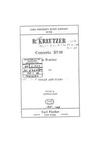 Violin Concerto No.19 in D minor : Piano... by Kreutzer, Rodolphe