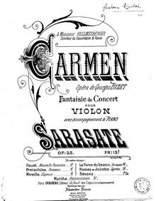Carmen Concert Fantasy, Op.25 : Piano Sc... Volume Op.25 by Sarasate, Pablo de