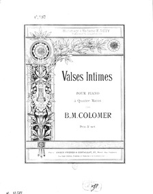 Valses intimes : Complete score by Colomer, Blas María de