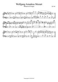 Minuet in D major, K.94/73h : Complete S... Volume K.94 ; K⁶.73h by Mozart, Wolfgang Amadeus