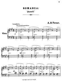Sonnets for the Piano : 5. Farewell by Turner, Alfred Dudley