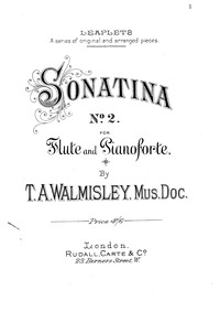 Oboe Sonatina No.2 : Piano Score by Walmisley, Thomas Attwood