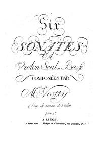 6 Sonatas for Violin and Cello, W.V:7-12... Volume Op.4 Book2 or WV 7-12 by Viotti, Giovanni Battista