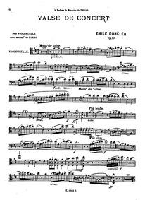 Valse de concert, Op.23 : Cello Volume Op.23 by Dunkler, Emile